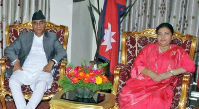 शेरवहादुर देउवालाई राष्ट्रपति विद्यादेवी भण्डारीद्वारा प्रधानमन्त्रीमा नियुक्त