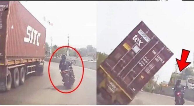 सडकमा गु' ड्दै गरेको ट्रक बाईकतिर प' ल्टियो, यसरी क्यामरमा रेकर्ड भयो-हेर्नुहोस् ला, ईभ भिडियो