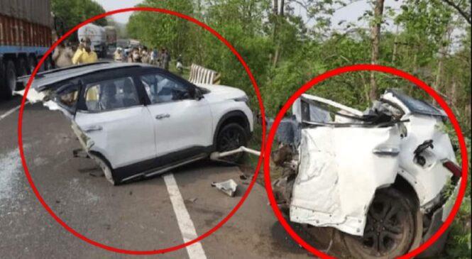 अहिले सम्मकै यस्तो भयानक दु'र्घटना, कार यसरी सडकमै टुक्रा–टुक्रा (भिडियो सहित)